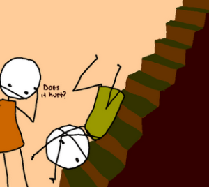 caindo da escada